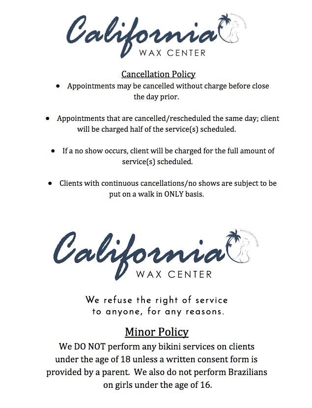 Policies   California Wax Center